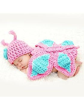 HAPPY ELEMENTS Neugeborenes Baby Fotoprops Säuglingsknit Häkelarbeit Kostüm Blaue Gestreifte Weiche Outfits Elf...