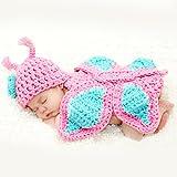 HAPPY ELEMENTS Neues Baby Säuglingsschmetterlings Häkelarbeit Gestricktes Kostüm Weiche Entzückende Kleidung Fotophotographie Stützen für Neue Geborene Baby Produkte