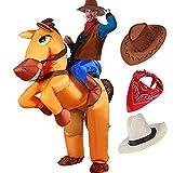 Tacobear Aufblasbare Pferd und Cowboy Kostüm für Erwachsene Aufblasbare Halloween Kostüm Fancy Dress Party Cosplay Kostüm Aufblasbare Cowboy Reiter Kostüm mit Cowboy Hut und Cowboy Bandana