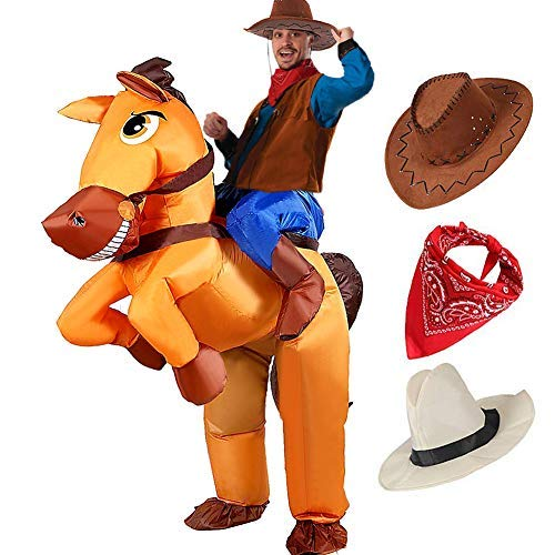 Tacobear Aufblasbare Pferd und Cowboy Kostüm für Erwachsene Aufblasbare Halloween Kostüm Fancy Dress Party Cosplay Kostüm Aufblasbare Cowboy Reiter Kostüm mit Cowboy Hut und Cowboy ()
