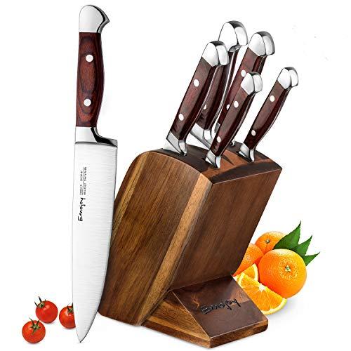 Emojoy Set Coltelli, Set di Coltelli da Cucina 6 Pezzi,Professionali Coltello Cucina con Ceppo Coltelli,Acciaio Tedesco coltelli Cucina Set
