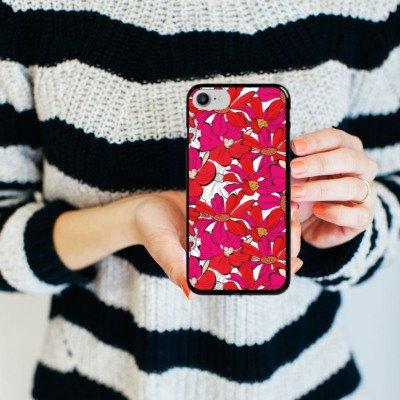 Apple iPhone X Silikon Hülle Case Schutzhülle Blumen Muster zeichnung Hard Case schwarz