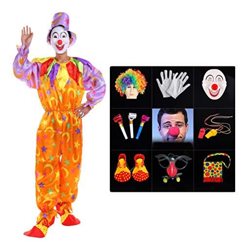 LaoZan Halloween Zirkus Clown Kostüm Anzug Jumpsuit Top Umhang Karneval Cosplay Verkleidung Maskerade Faschingskostüme Performance Outfit (Stil11(12Pcs), Asia - Verrückten Mardi Gras Kostüm