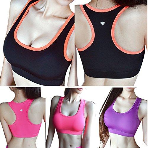 Hrph Mode Femme Bra de Sport Yoga Jogging Gym Fitness Crop Sous-Gorge Padded Tennis Shirt Veste de Sport Yoga Sous-Vêtement Sexy Femme Fille Violet
