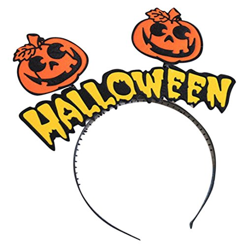 Kanpola 1 PC Halloween haargummi Head Button Buchstaben Kürbis Style Gelb Orange Pumpkin (Kopf Block Kostüm Halloween)