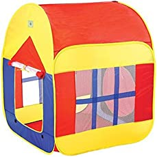 Play Tent – Foldable Kid Play House With Convenient Carry Case for Easy Storage and Travel, Promotes Creativity, Imagination, Early Learning, Great Playhouse for Indoor/Outdoor For Toddlers Boys & Girls By Shuban- Red & Yellow Color