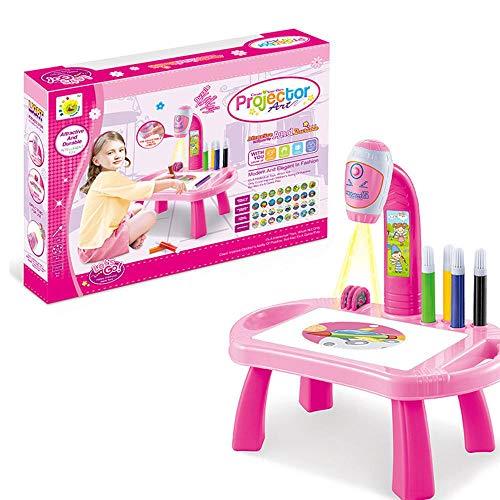 FOONEE Zeichenprojektor, verstellbar, Zeichnungs-Projektor, Malschreibtisch mit 32 Mustern, 8 Bunte Wasserstifte, Lernspielzeug für Kinder Rose