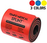 TEMPO MEDICAL SPLINT For Immobilization • First Aid Kit for Neck, Leg, Knee, Foot, Wrist, Hand, Arm Injuries • Lightweight, Flexible, Washable, Reusable, Sam • 91.4 cm x 11 cm Red (1 Roll)
