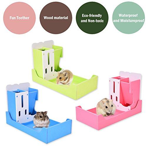 WIDEN 3 in 1 Kleintier Tier Multifunktions Rack Haustier Trink Essen Toilette Rack für Hamster s Meerschweinchen (Meerschweinchen Essen)