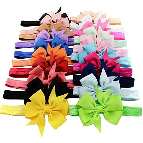 6 Baby Girl 's Schleife Flower Headbands Soft Elastic Hair Bands Farben Zufällige -