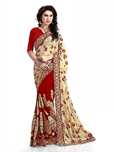 Nivah Fashion Women\'s Brasso & Net Half&Half Embroidery Work Diamond\'s Saree (Nh.K555AZ Red)