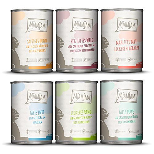 MjAMjAM - Premium Nassfutter für Katzen - Mixpaket III - Wild & Kaninchen, Pute, Ente & Geflügel, Herzen, Huhn, Rind, 6er Pack (6 x 400 g), getreidefrei mit extra viel Fleisch