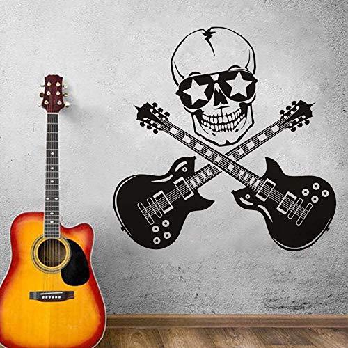 DIY kreative lustige Design Flugzeug Skelett Schädel Wandaufkleber mit Gitarre Tapete für Jungen Zimmer decor59 * 59cm