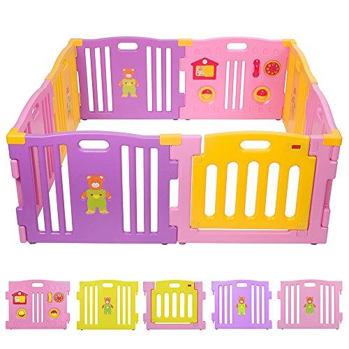 BEBEHUT® Reja de seguridad Barreras protectoras de plástico para bebés Baby Vivo Parque Infantil 3801-D02 JBW08 rosa - amarillo - púrpura