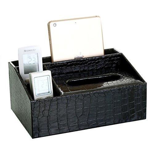 uarter Tissue Box Cover Titular–Mando a distancia multifunción servilleta dispensador de pañuelos (con base, color negro
