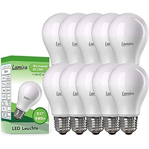 10x LUMIRA LED E27 Lampe ersetzt 100 W Glühlampe, 12 Watt warmweiß (2900 Kelvin), 1080 Lumen, 160° Abstrahlwinkel, A60 Leuchte, Energiesparlampe,