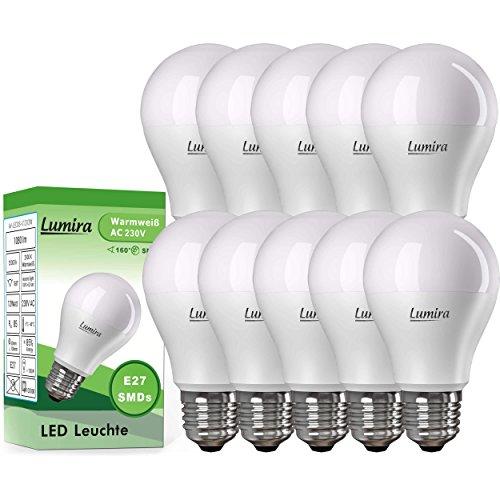 Preisvergleich Produktbild 10x LUMIRA LED E27 Lampe ersetzt 100 W Glühlampe, 12 Watt warmweiß (2900 Kelvin), 1080 Lumen, 160° Abstrahlwinkel, A60 Leuchte, Energiesparlampe, matt