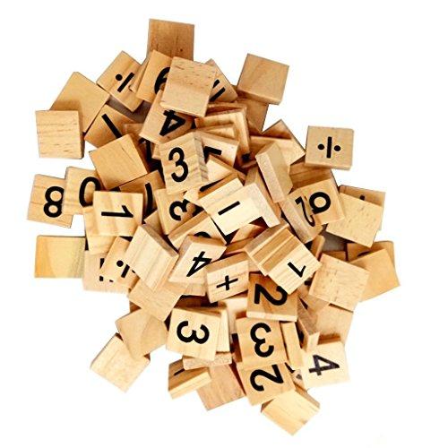 Preisvergleich Produktbild NAMVO 100PCS hölzerne Scrabble Fliesen Zahlen und Gleichung Zeichen
