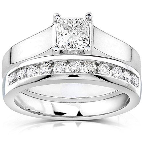 Kobelli  -  14 Kt  Weißgold Prinzessschliff Rundschliff   Feines Weiß/Top Wesselton (G) - Weiß/Wesselton (H) Weißer Diamant - Engagement Diamant-ring Tiffany