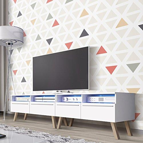 Selsey Siena Wood Double - TV Bank / TV Lowboard Weiß Matt, mit LED 200 cm