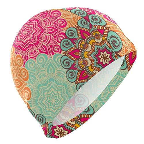 Gebrb Gorro de Baño/Gorro de Natacion, Swim Cap Colorful Mandala Indian Style Bohemia Mens Swimming Cap Boy Adult Teen Swimming Hat No-Slip