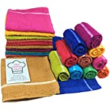 The Cotton Chef Soft Cotton Napkins Absorbent Skin Friendly 9X9 Inches Light Multicolor Pack Of 10