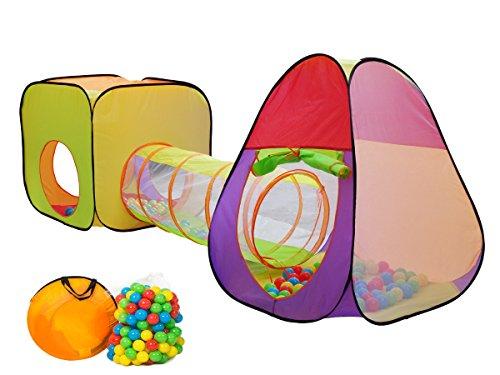 Preisvergleich Produktbild MC Star 3 teiliges Kinderzelt Spielzelt Mädchen mit Krabbeltunnel 200 Bällen Tasche Bällebad für drinnen draußen garten, Kinderspielzelt Spielhaus Zimmerzelt Prinzessin im Kinderzimmer,Pop Up, bunte Farbe