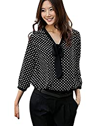 bde542b95c Logobeing Mujeres Manga Larga Gasa Bowknot Camisa Casual V-Cuello Puntos  Blusa Lunares