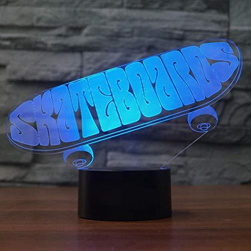 Acryl Skateboard 3D Lampe 7 Farbwechsel Nachtlicht 7 Farblichter LED USB Schreibtisch Tischlampe Atmosphäre Nachtlampe Home Decorusb wiederaufladbare Athleten Sport Guy Jungen Mädchen Präsentieren Dek