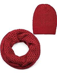 styleBREAKER Ensemble constitué d un bonnet et d une écharpe loop, châle  tricoté 4f3e7711064