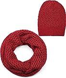 styleBREAKER Strick Loop Schal und Mütze Set, Loch Muster Strickschal mit Beanie Strickmütze, Winter, Unisex 01018210, Farbe:Bordeaux-Rot