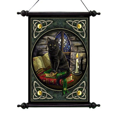 Design Toscano CL571307 Cat and Books Canvas Wall Scroll Tapestry by Artist Lisa Parker - inexpensive UK canvas store.