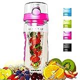 Degbit Bouteille, Eco-Friendly Sprots Bouteille d'eau Plastique Tritan sans BPA, 1 Litre Bouteille Isotherme BPA-Free, Bouteille à Infusion de Fruits avec Boucle Lock (Rose)