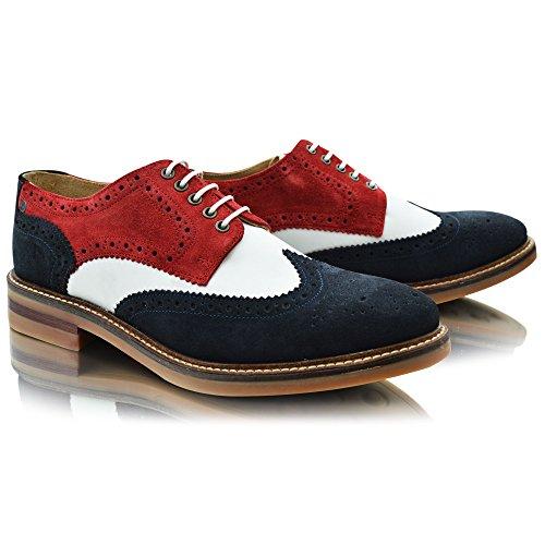 Base London Woburn, Herren Schnürhalbschuhe Red / White / Blue