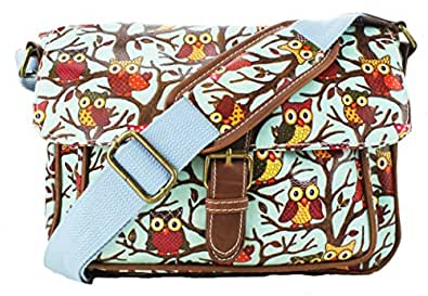 Ladies Small Oilcloth Owl Messenger Satchel Bag (Owl Blue)