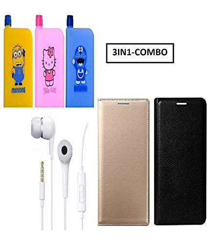 PREGO (4 in 1-Combo Offer )Multicolor Printed Notebook Shape Water Bottle (380ml) & full Golden and Black Leather Flip Cover With Handsfree(ear phone) For Xiaomi Redmi Note 4 (Mi Note 4)
