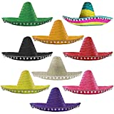 MEXICAN MULTICOLOURED SOMBRERO WITH WHITE POM POMS STRAW HAT FANCY DRESS COSTUME BY ILOVEFANCYDRESS IDEAL FOR HEN/STAG NIGHT, SUMMER, BEACH PARTY,WHOLESALE BULK - PACK OF 1 **PLEASE NOTE THE ACTUAL SOMBREROS ARE MULTICOLOURED AND YOU WILL NOT RECEIVE VARIOUS COLOURS**