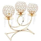 Baoblaze Candelabro Cristalino de 3 Brazos Tenedor de Vela de Votivo de Luz de Té Decoración de Casa - Oro