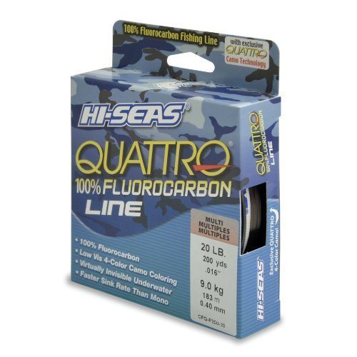 hi-seas Quattro 100% Fluorocarbon Schnur Line, 20 Pound Test, 4 Color Camo, 200-yard by hi-seas -