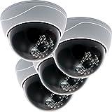 Oxid7® Dummy Kamera 4 Stück Dome hemisphärisch mit 11 LED's CCD Set Fake Überwachungskamera mit LED Attrappe Camera Sicherheitskamera - wasserdicht …