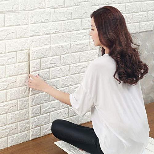 SuRose 3D weißes Ziegelstein-Tapete Chinesischer Stil Selbstklebend Verdicken Verbindung Wand Wandplatte 70 * 77 cm,20pcs -