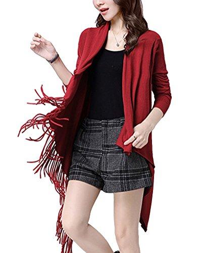 Brinny Femme nouvelle chandail avec frange au bas col V-Taille unique Rouge