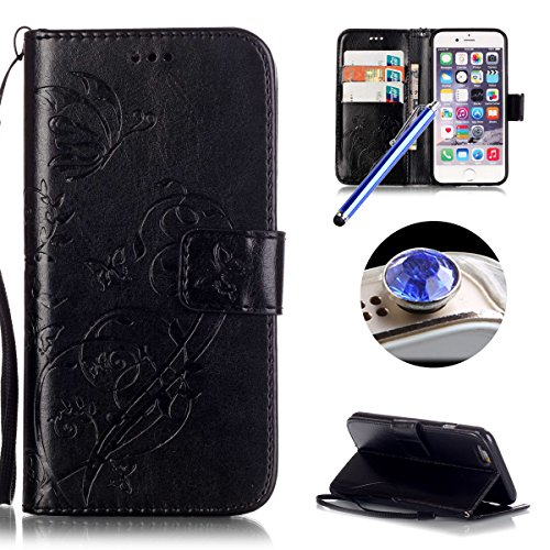 Etsue Cuir Housse pour iPhone 7,Folio Book Style Coque Fermeture Aimanté avec Gratuit Lanière Cover pour iPhone 7,Flip Leather Walllet Case for iPhone 7 + 1 x Bleu stylet + 1 x Bling poussière plug (c Fleur Noir