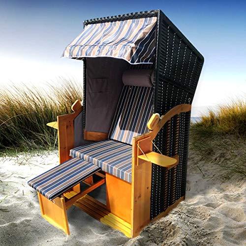 Strandkorb Helgoland 2-Sitzer für 2 Personen 90cm breit Braun Blau Weiß Grau gestreift Gartenliege Sonneninsel Poly-Rattan