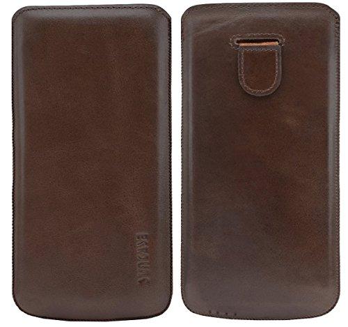 Original Suncase Tasche für / iPhone 6 Plus (5.5 Zoll) / Leder Etui Handytasche Ledertasche Schutzhülle Case Hülle (Lasche mit Rückzugfunktion) (UVP 14.90€) vollnarbig-rot coffee-braun