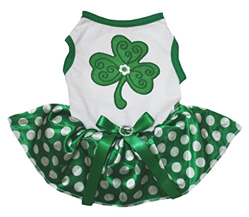 ck Dog Dress Clover White Cotton Dots Green Tutu (Large) (St Patricks Tag T-shirts)