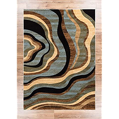 Hudson olas azul/marrón Geométrico moderno Casual área alfombra 2x 4/de manchas de fácil de limpiar resistente a la decoloración libre de cobertizo abstracto contemporáneo Natural Líneas Multi suave Living Comedor Alfombra