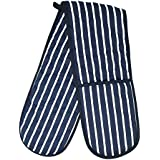 Double Oven Glove, Wide Reach, Blue & White, Cotton Design, Pot Holders, Machine Washable