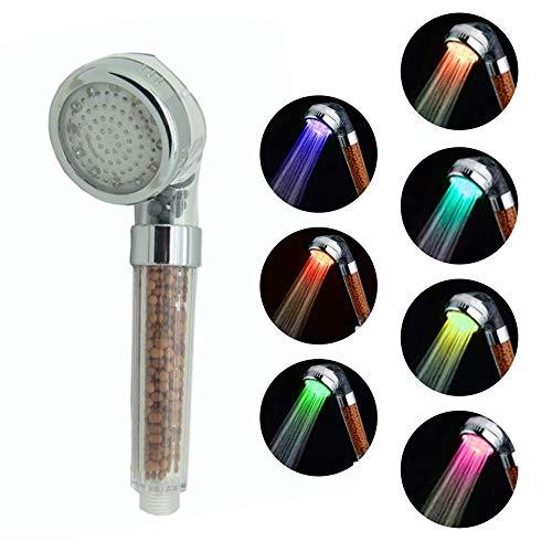 paletur88 Dusche 7 Farben Wasser Sparen Anion Big Regen RFID Blockier Temperatur Kontrolle Handheld Dusche Spa UV (L7 Farben - 7 Farben, Large -