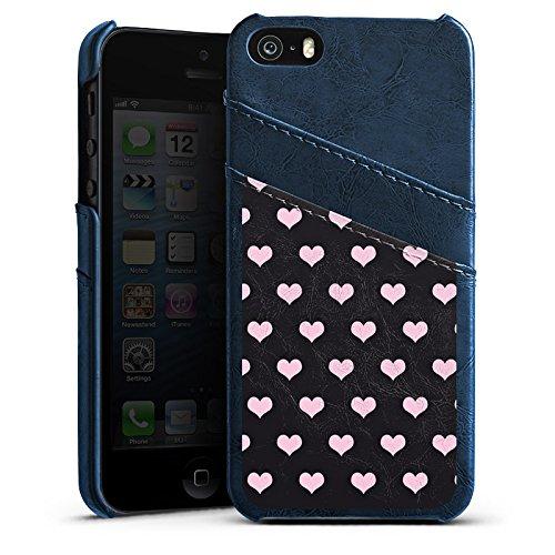 Apple iPhone 5s Housse étui coque protection C½urs Rose vif Motif Étui en cuir bleu marine